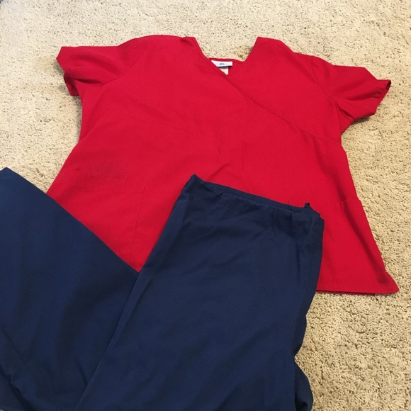 Women's red and navy scrubs set